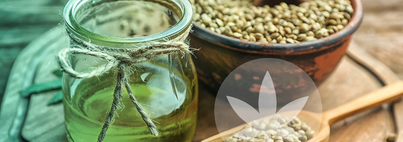 image of hemp seeds and hemp seed oil