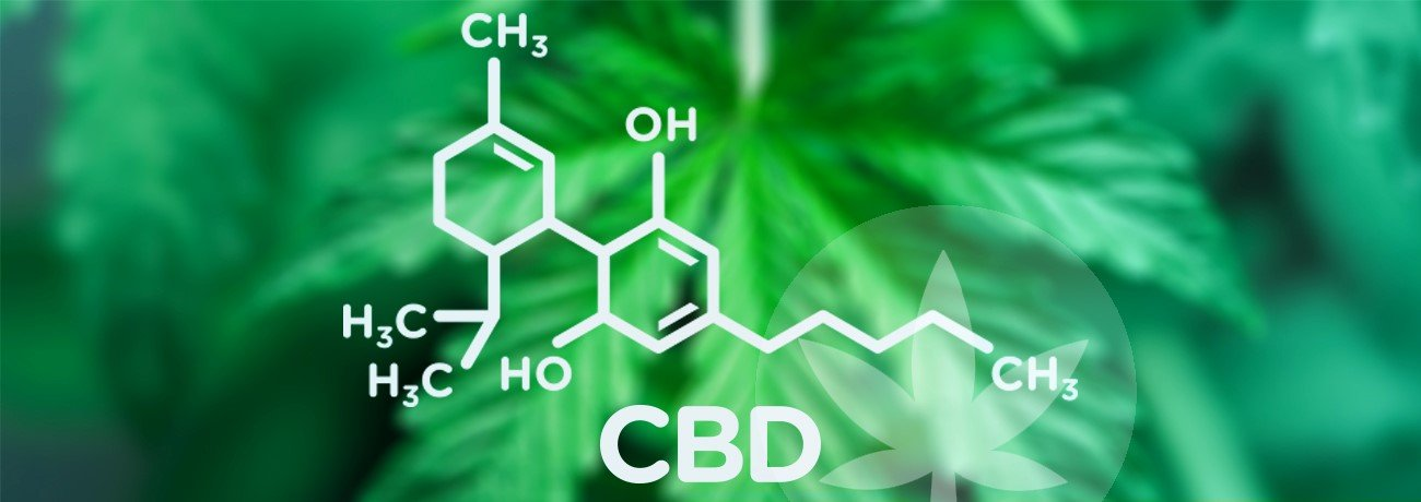image of cannabis with molecular formula of CBD