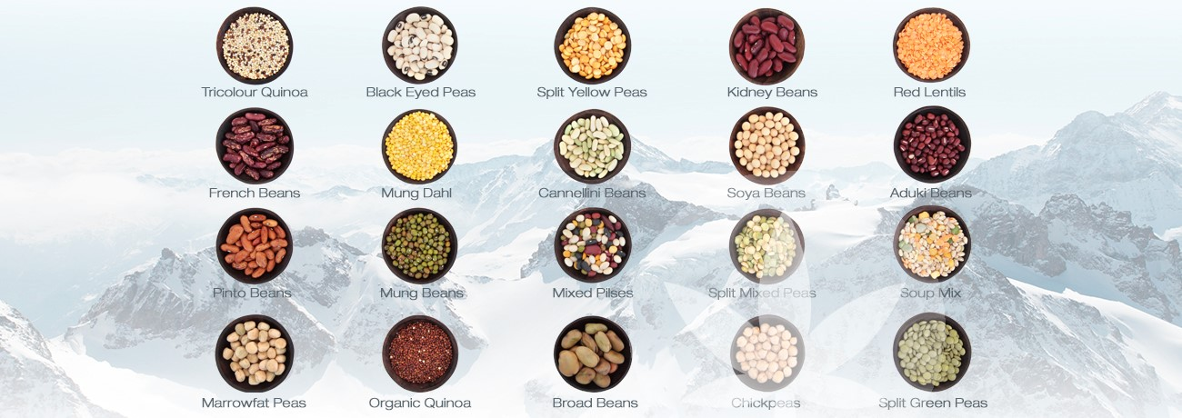 different beans and pulses