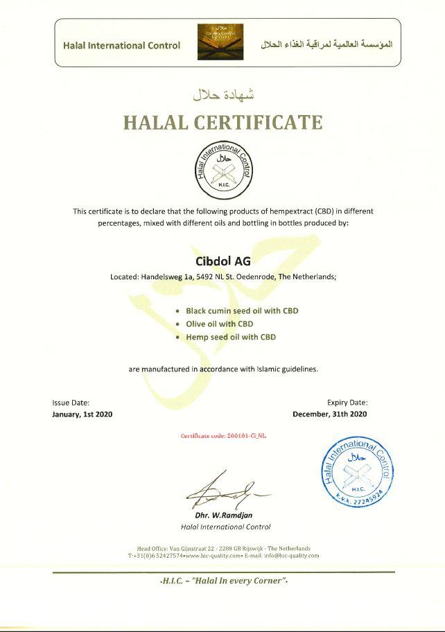 Cibdol halal certificate